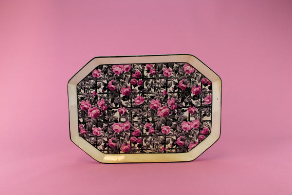 Black and Pink Roses Tray, English circa 1920