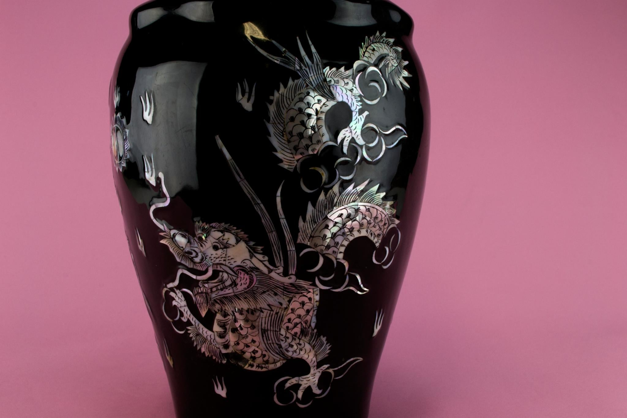 Black Dragon Mother of Pearl Vase