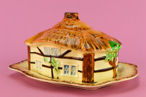Cottage Shaped Butter Dish, English 1950s