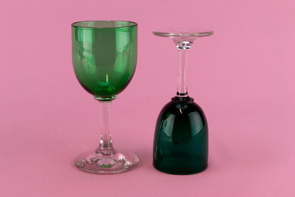 3 Green Port Glasses, English 19th Century