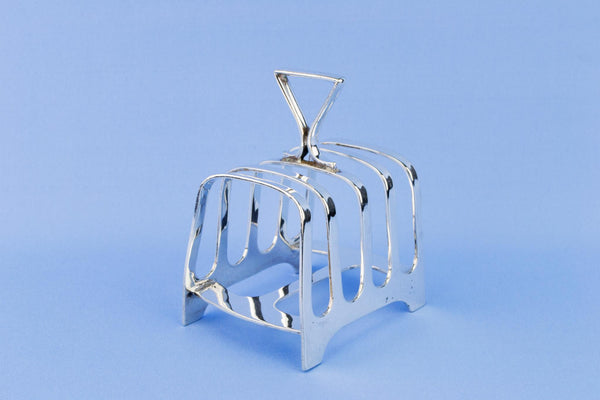 Small Silver Plated Art Deco Toast Rack, English 1920s