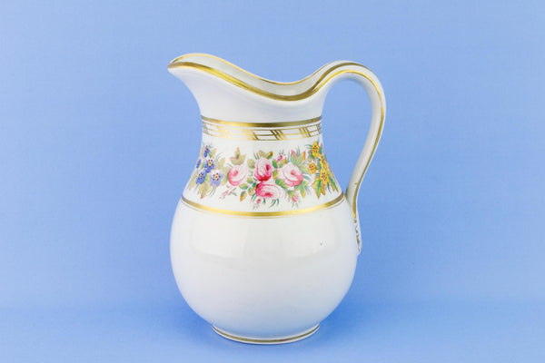 Floral and Gilded Jug, English Mid 19th Century