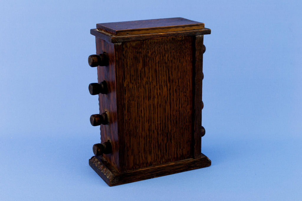 Tabletop Winding Calendar in Oak, English Circa 1900
