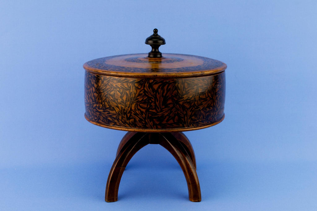 Penwork Wooden Box on Stand, English Circa 1830