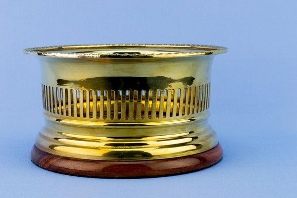 Brass & Wood Wine Bottle Coaster, English 1920s