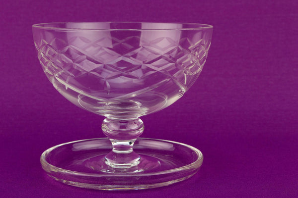4 Cur Glass Dessert Bowls, English Mid 20th Century