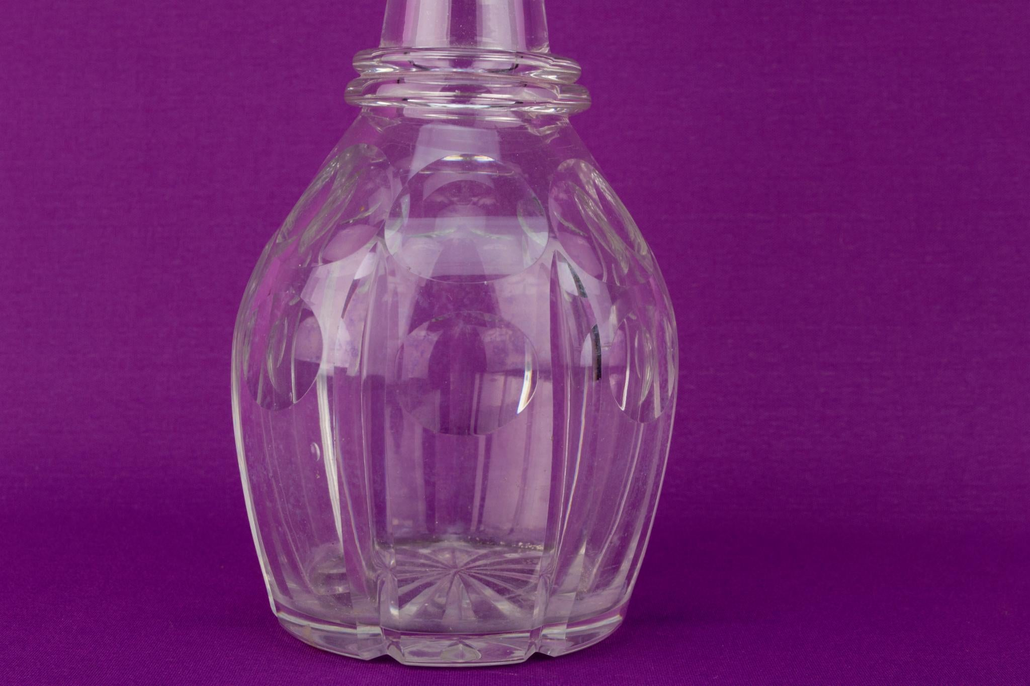 Cut Glass Barrel Decanter, English Mid 19th Century