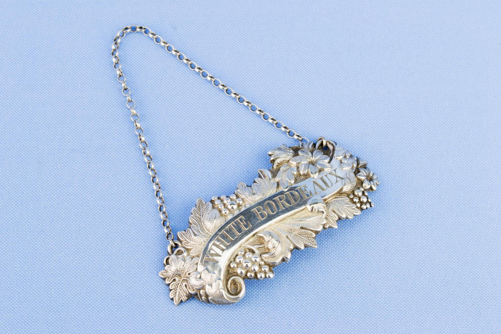 White Bordeaux Silver Plated Decanter Tag, English circa 1870