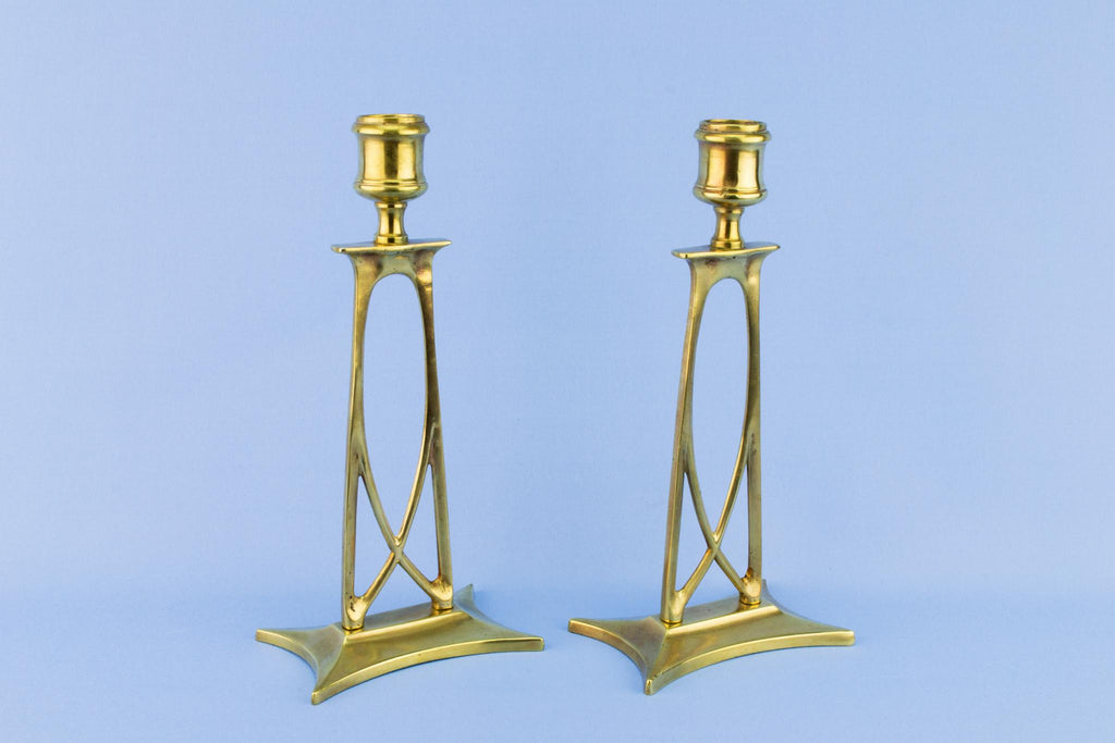 Art Nouveau Candlesticks, English Circa 1900