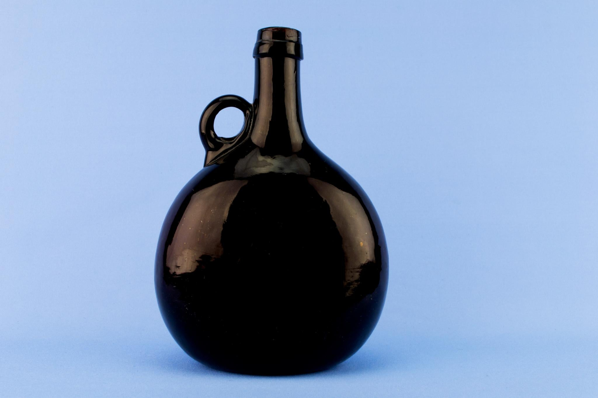 Blown Glass Flask Carafe, English Early 1800s