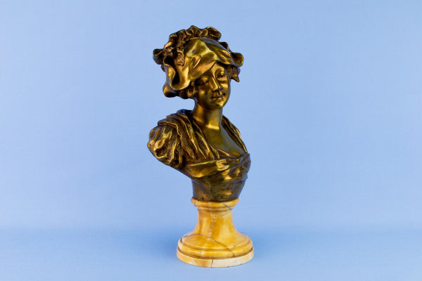 Bronze Bust Sculpture of a Girl, French 1870s