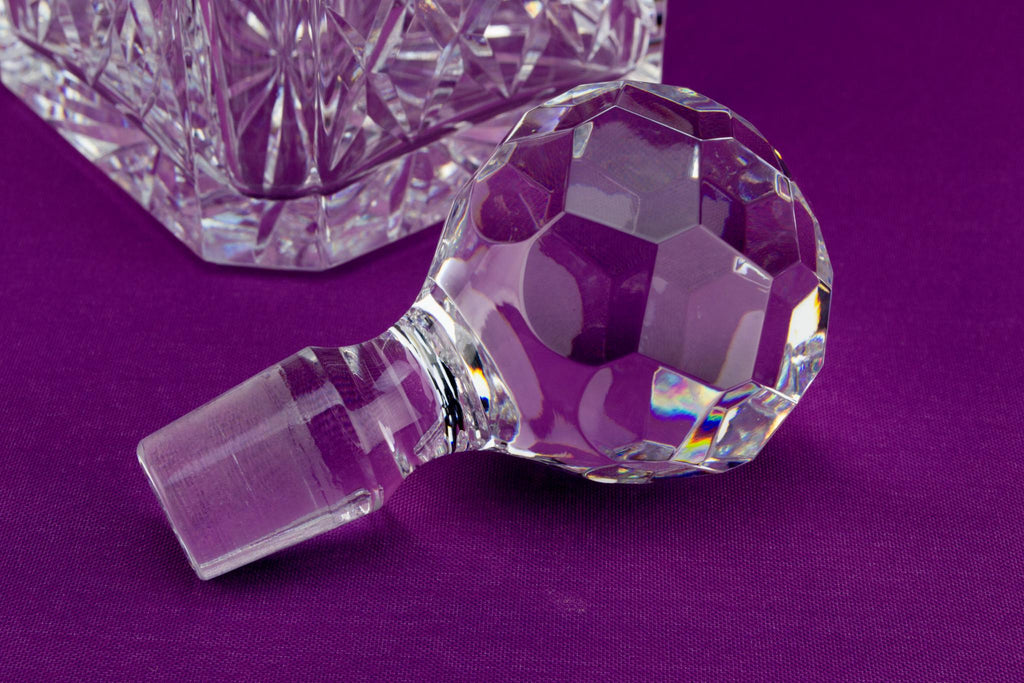 Cut Glass Square Decanter by Thomas Webb