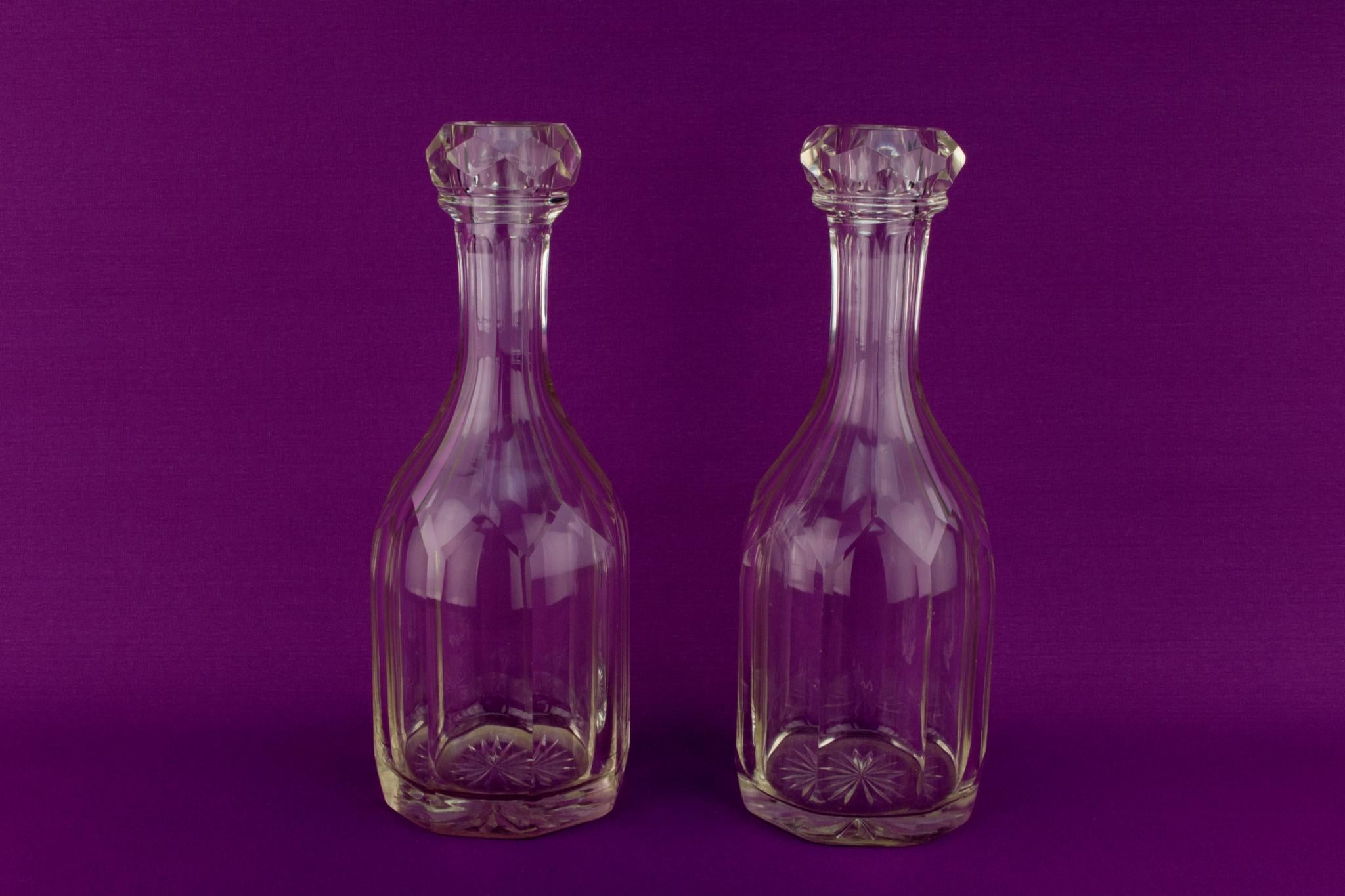 2 Cut Glass Wine Carafes, English Georgian Early 1800s