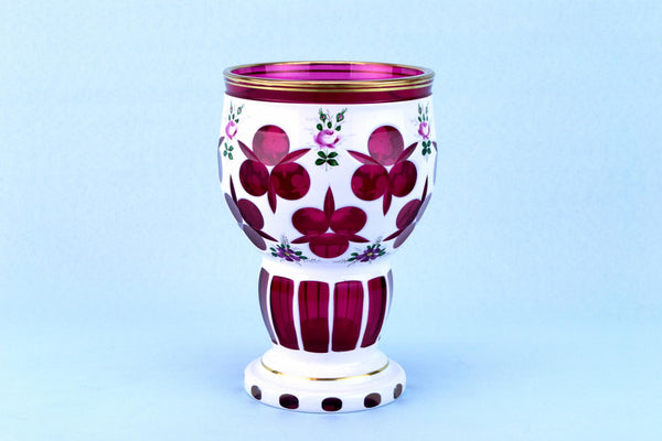 Cranberry & White Overlay Glass Vase, Bohemian Early 1900s