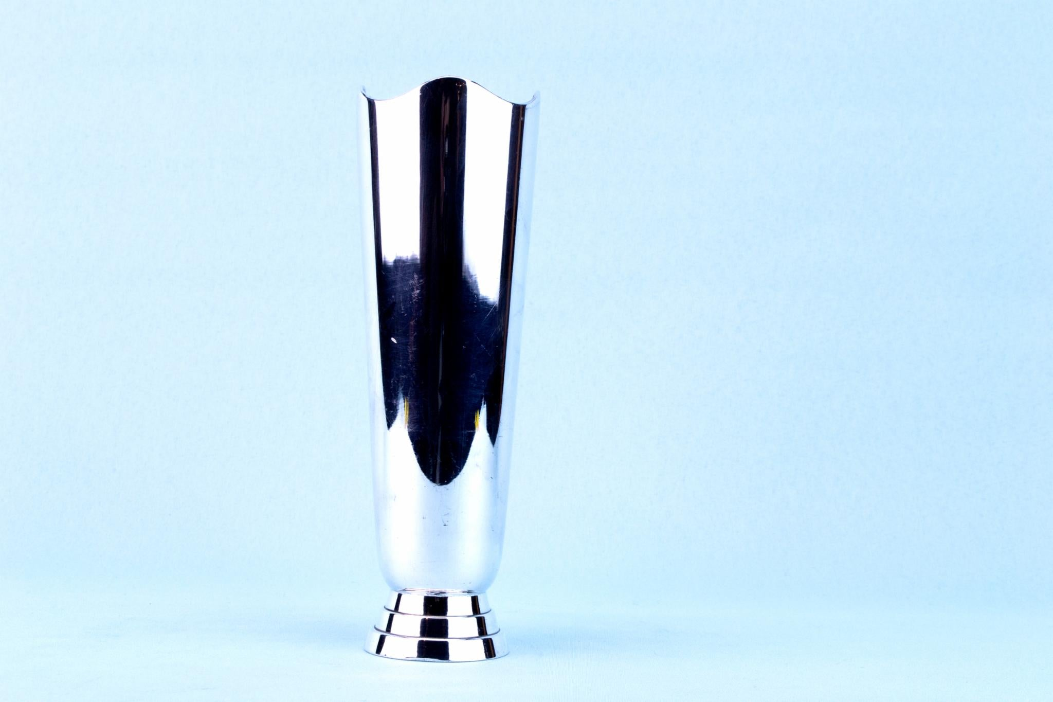 Silver Plated Small Art Deco Vase, English 1930s