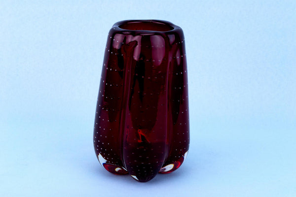 Ruby Red Glass Vase by Whitefriars, English Circa 1970