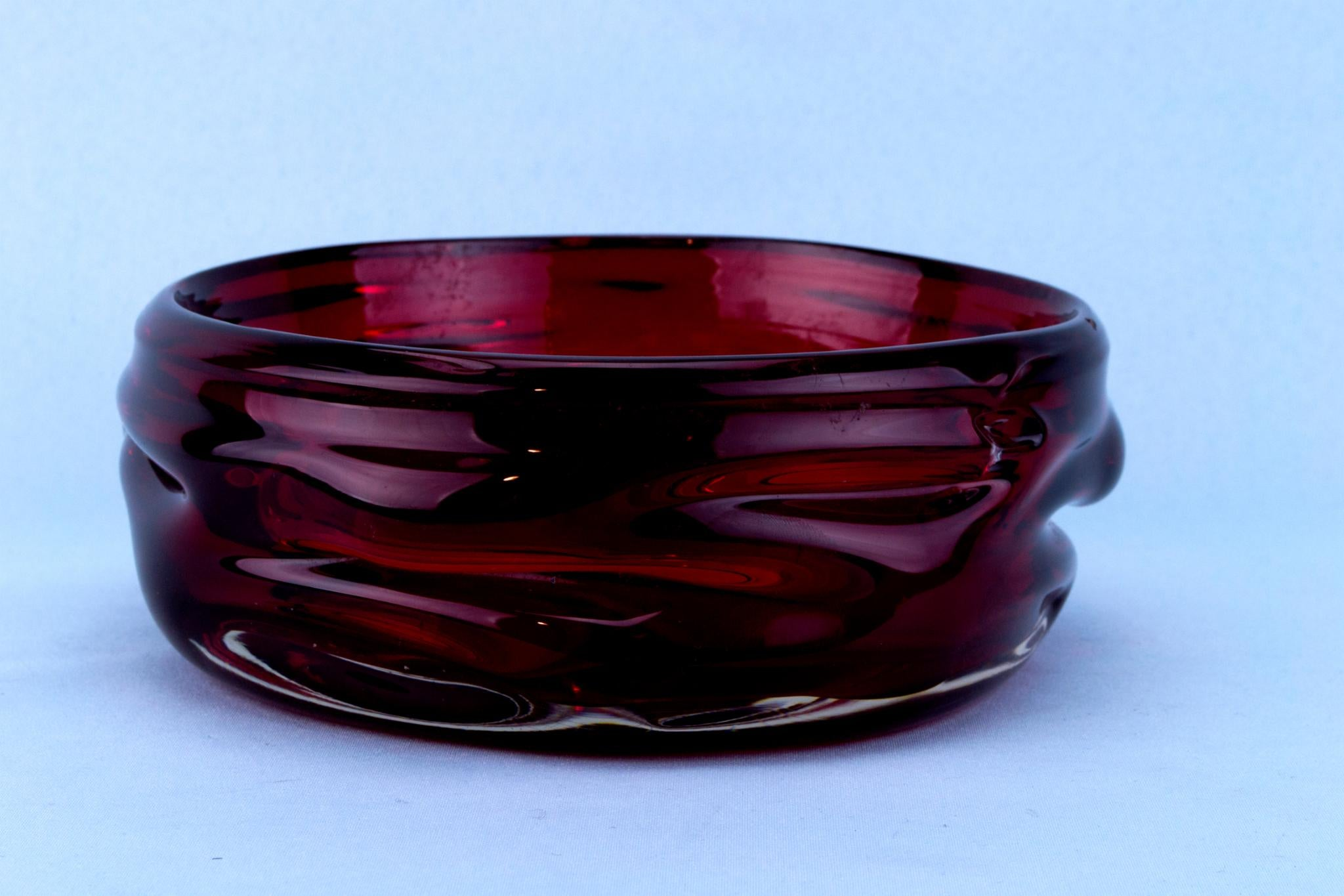 Ruby Red Glass Decorative Bowl by Whitefriars