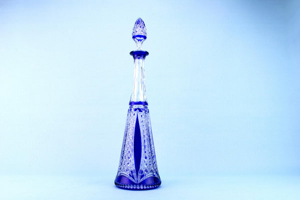 Tall Blue Glass Decanter, English 1930s