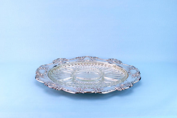 Silver Plated & Glass Serving Platter