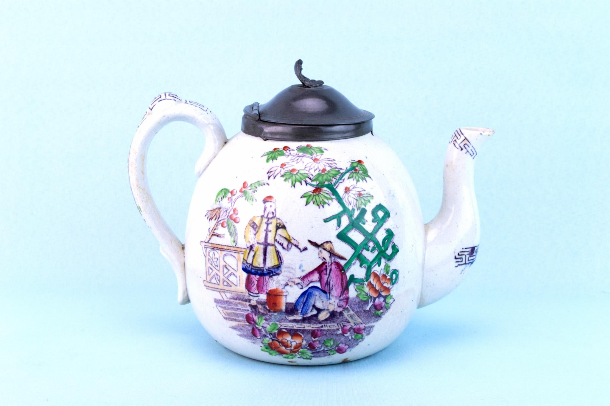 Globular Ceramic Teapot, English 1870s