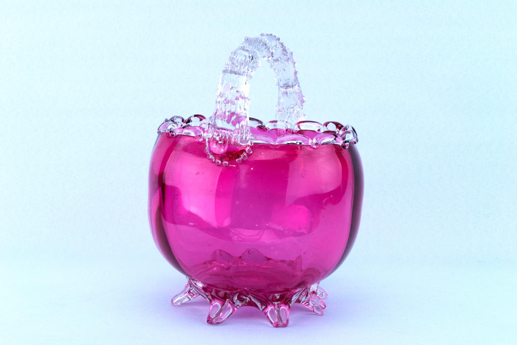 Cranberry Red Glass Basket Bowl, English 19th Century