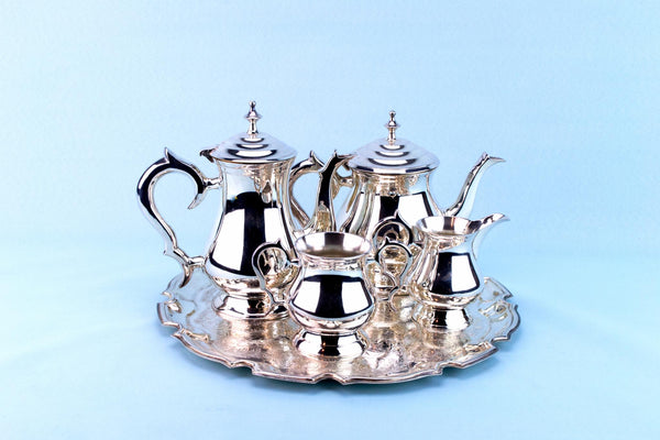 Silver Plated Tea and Coffee Set on Tray
