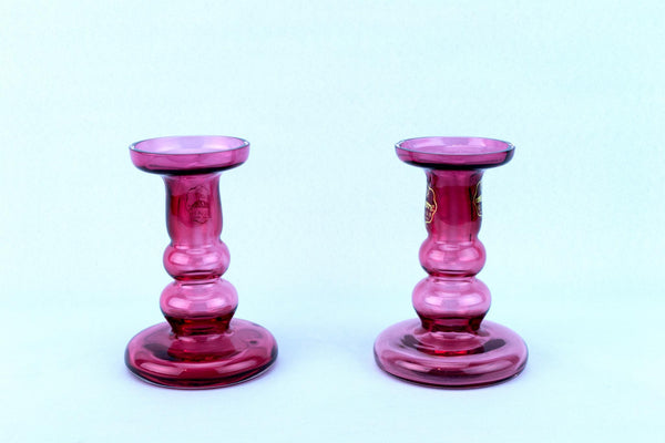 Pair Of Glass Cranberry Red Glass Candlesticks