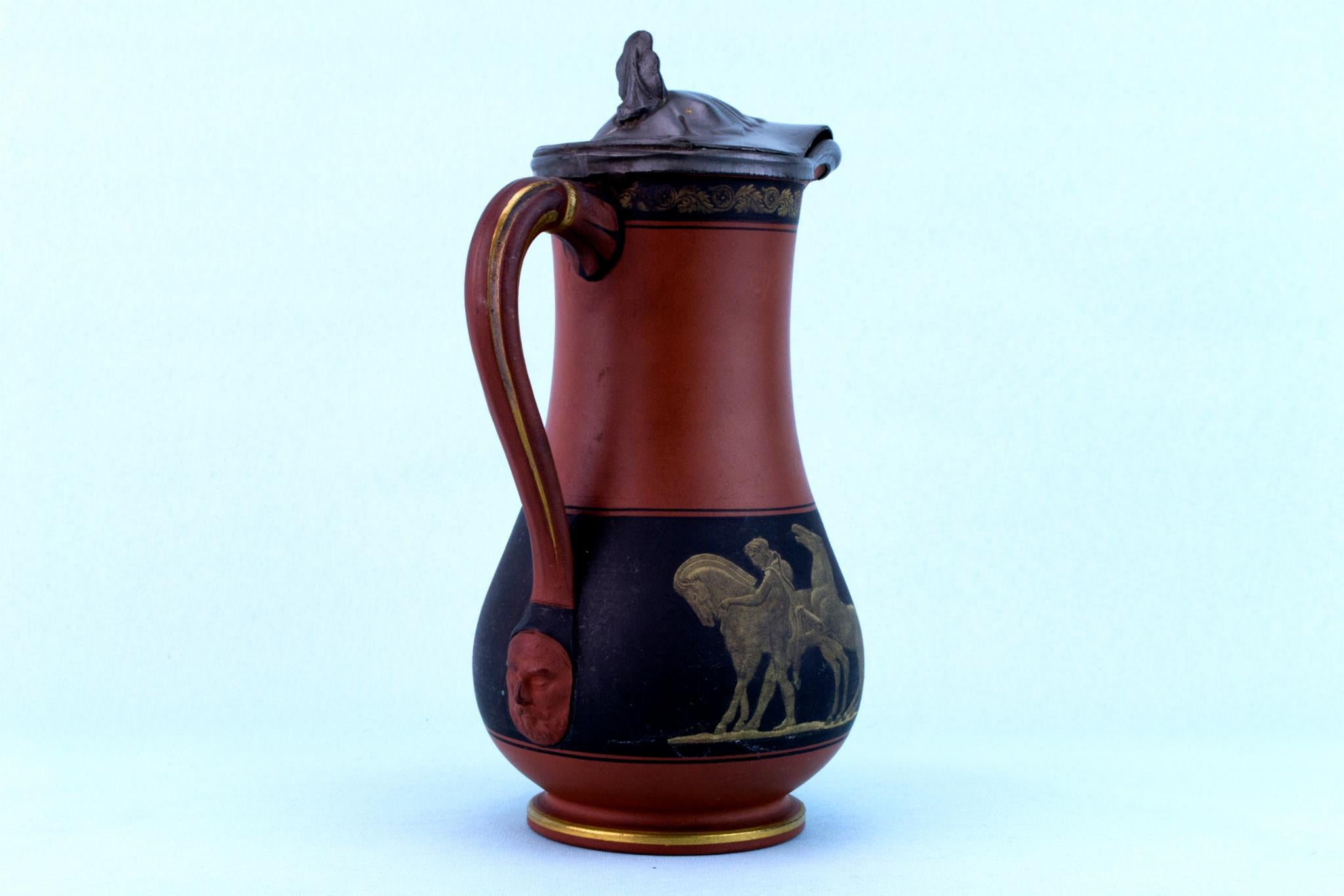 Terracotta Painted Jug, English 1870s
