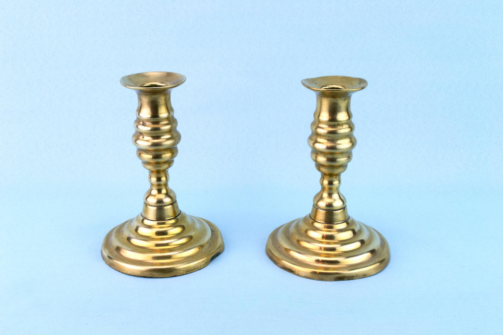 2 Brass Victorian Candlesticks, English 19th Century