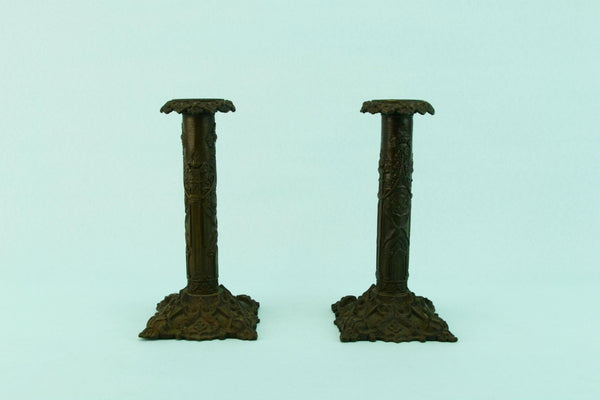Gothic Revival Candlesticks, English Mid 19th Century
