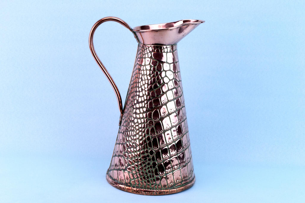 Crocodile Skin Pattern Copper Jug, English Circa 1900