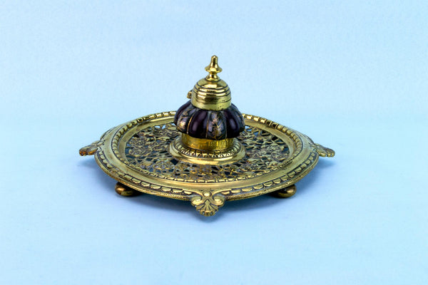 Brass Aesthetic Movement Inkwell, English 1870s