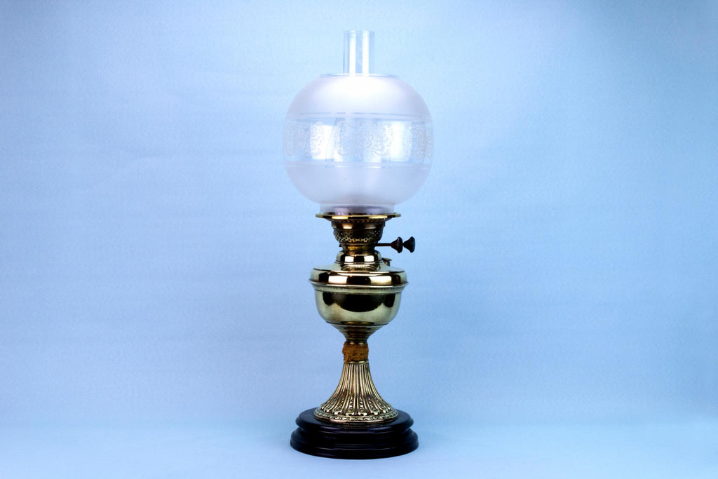 Victorian Oil Lamp with Glass Shade, English 19th Century