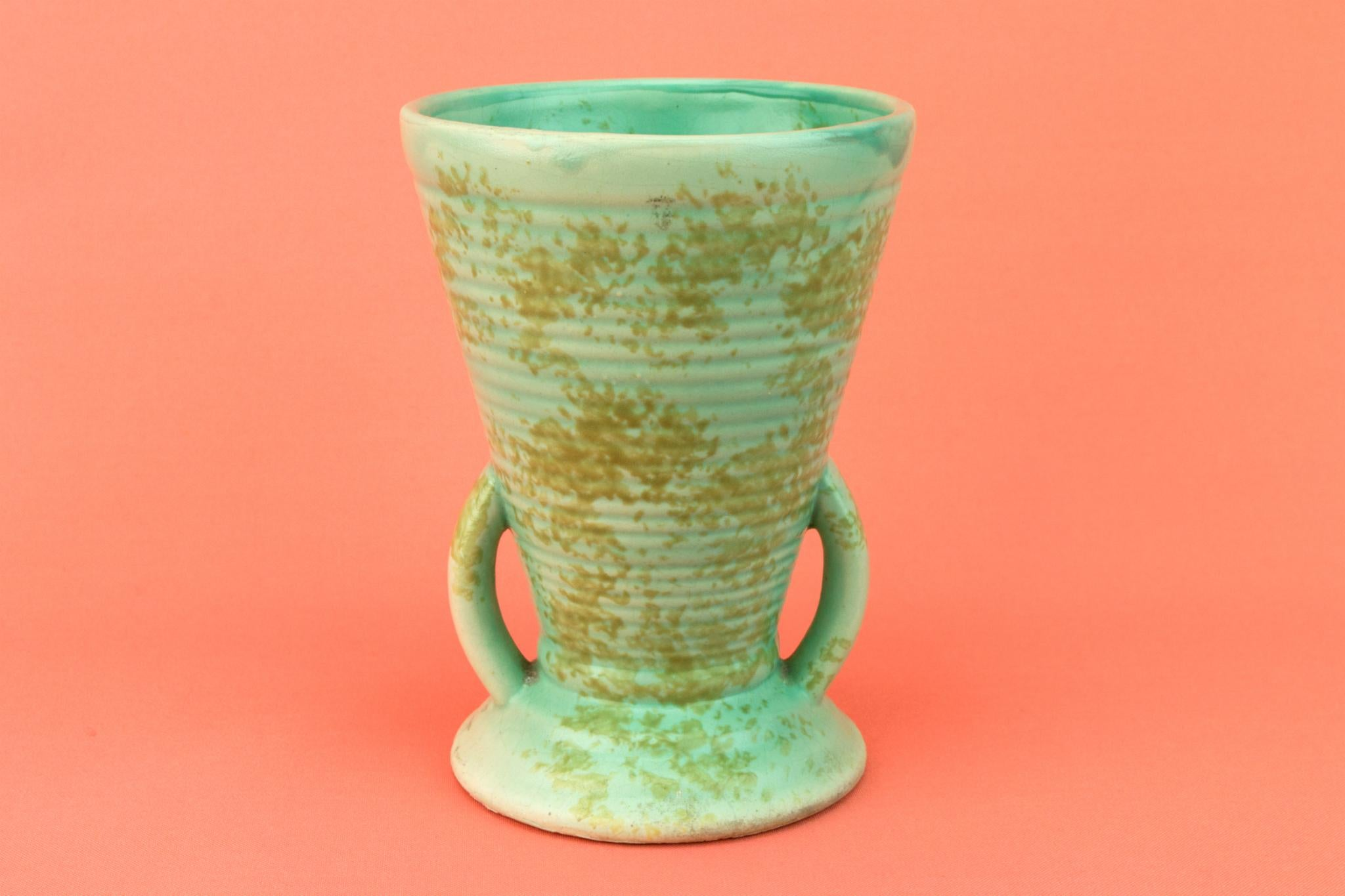 Vase in Art Deco Mottled Green, English 1930s