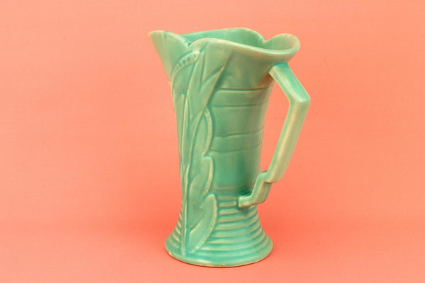 Green Art Deco Flower Jug, English 1930s