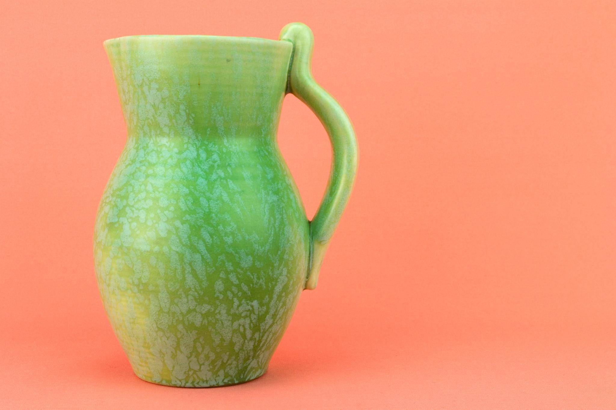 Art Deco Jug in Mottled Green, English 1930s