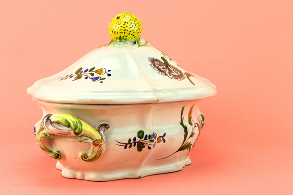 Majolica Tureen with Floral Decor, Italian Mid 20th Century