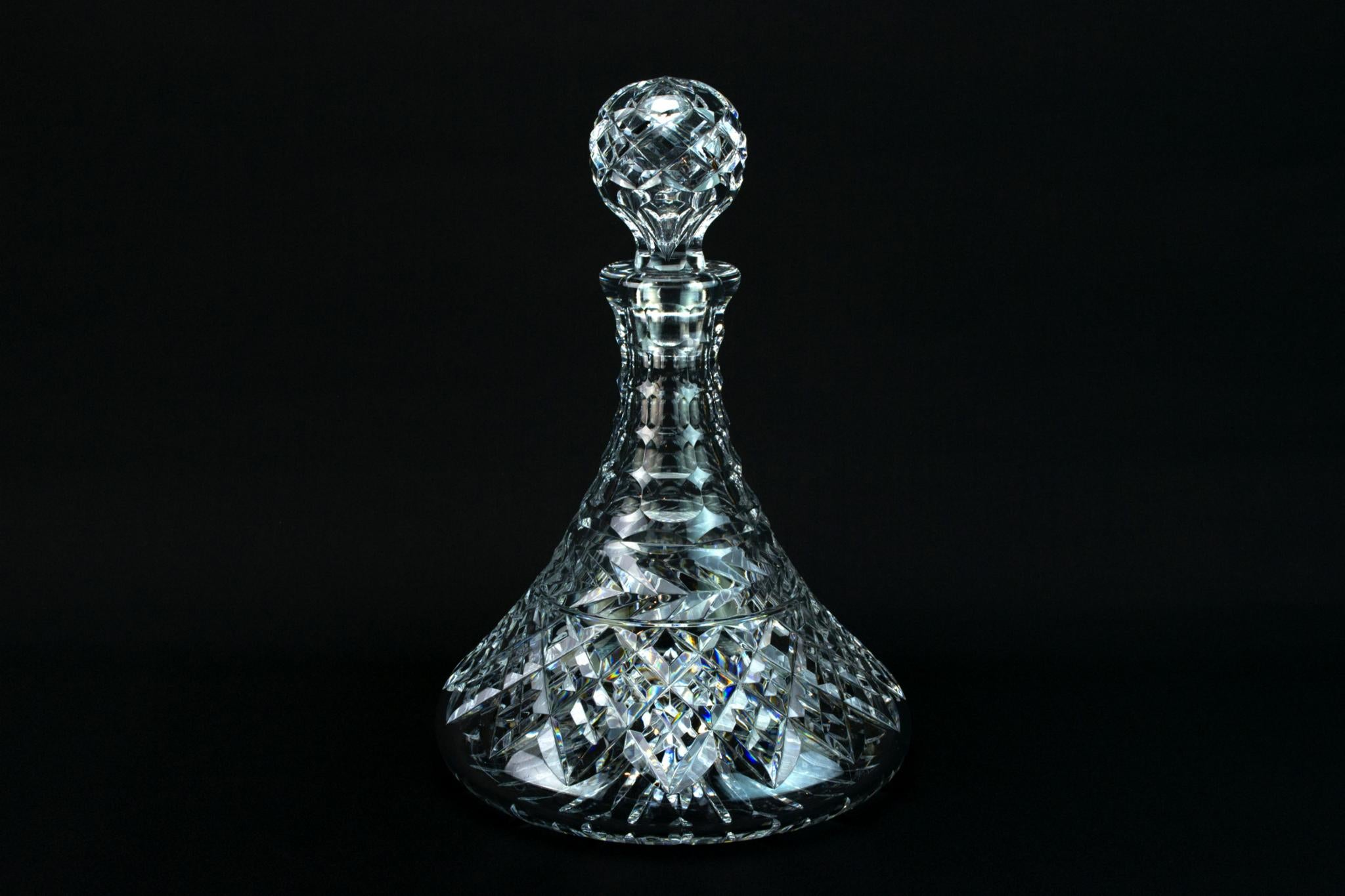 Cut Glass Heavy Ship Decanter