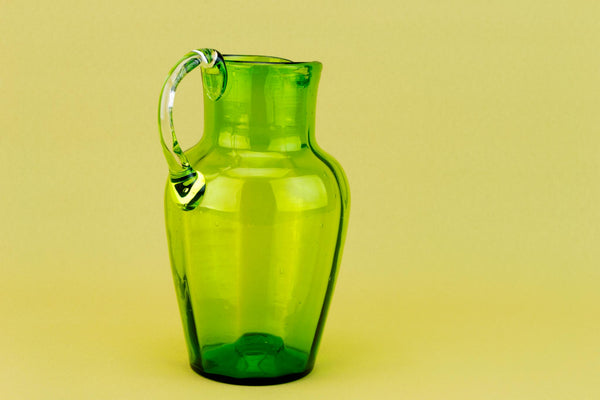 Jug in Green Blown Glass, English 19th Century
