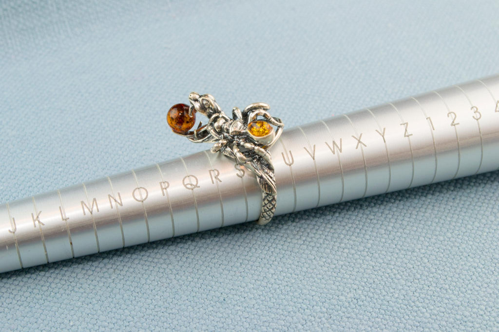 Silver & Amber Snake and Spider Rink