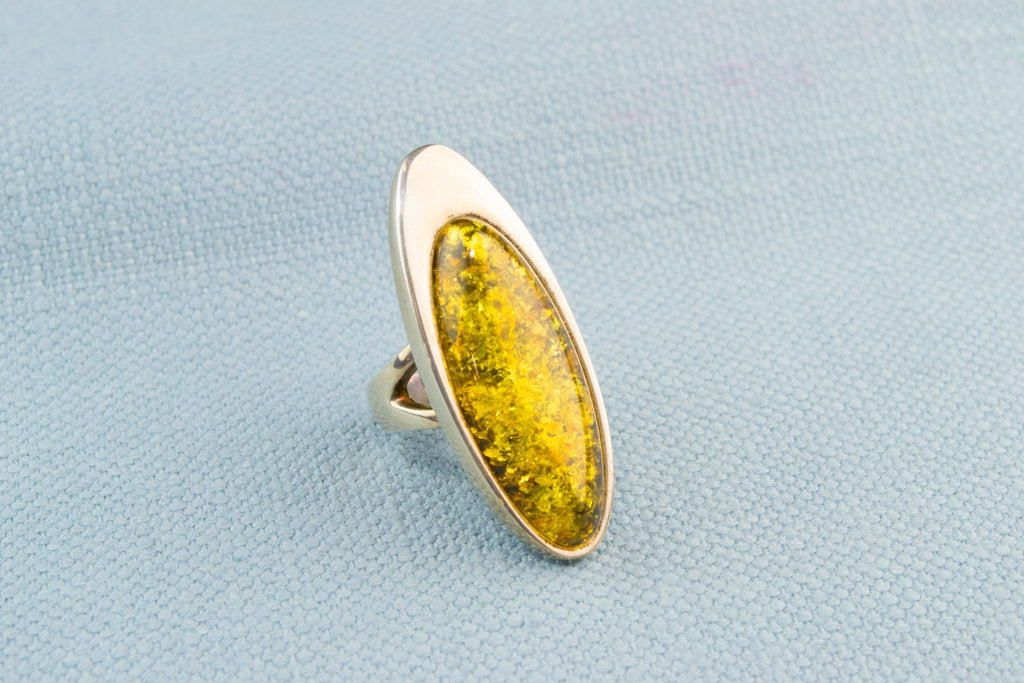 Large Marquise Ring in Silver and Baltic Amber