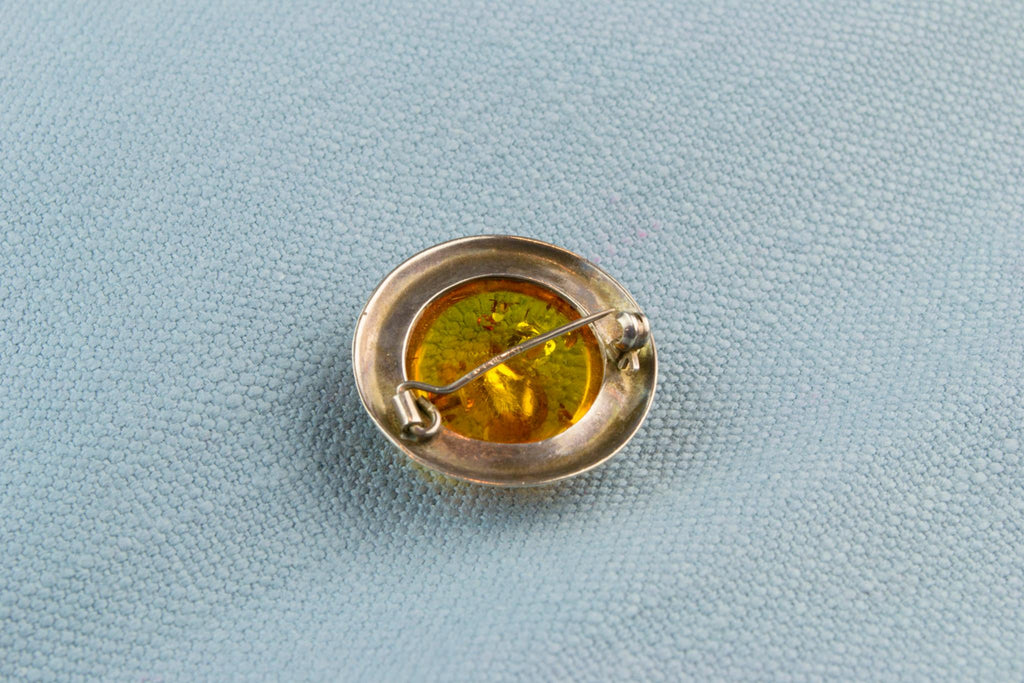 Cabochon Amber Brooch In Sterling Silver