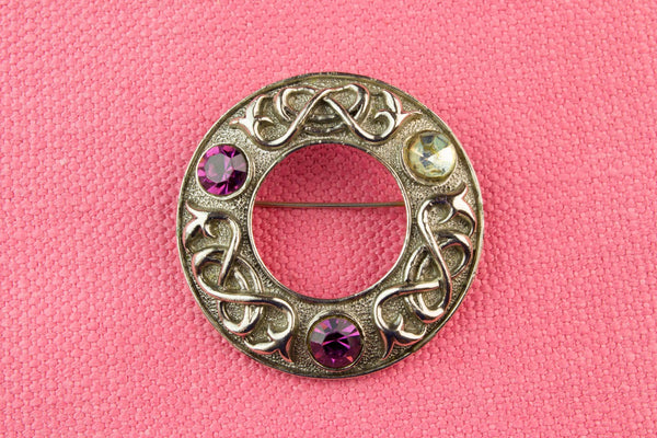 Celtic Kilt Pin Brooch by Exquisite, English 1950s