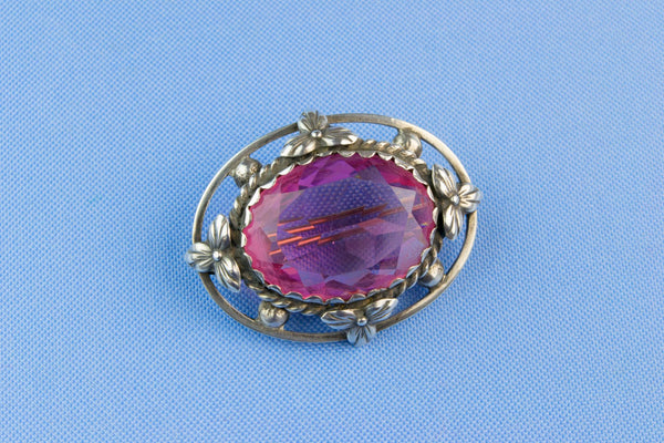 Silver Brooch with Pink Stone, Scottish Early 1900s