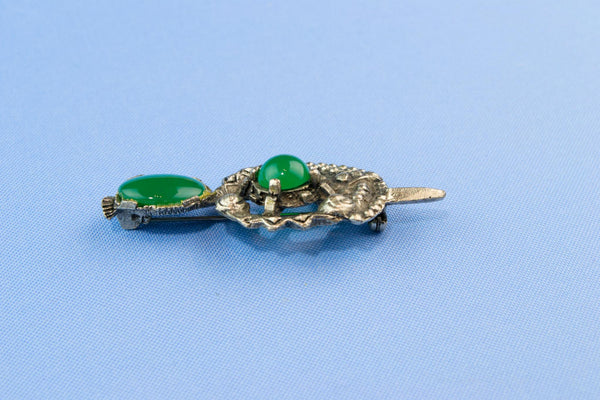 Silver and Green Kilt Pin or Brooch