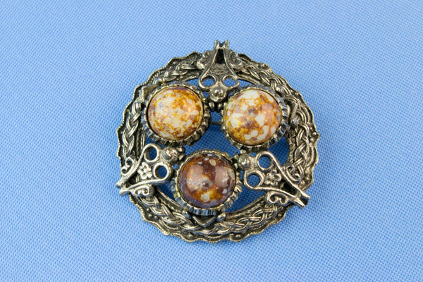 Celtic Knot Brooch with Agate Gem Imitations