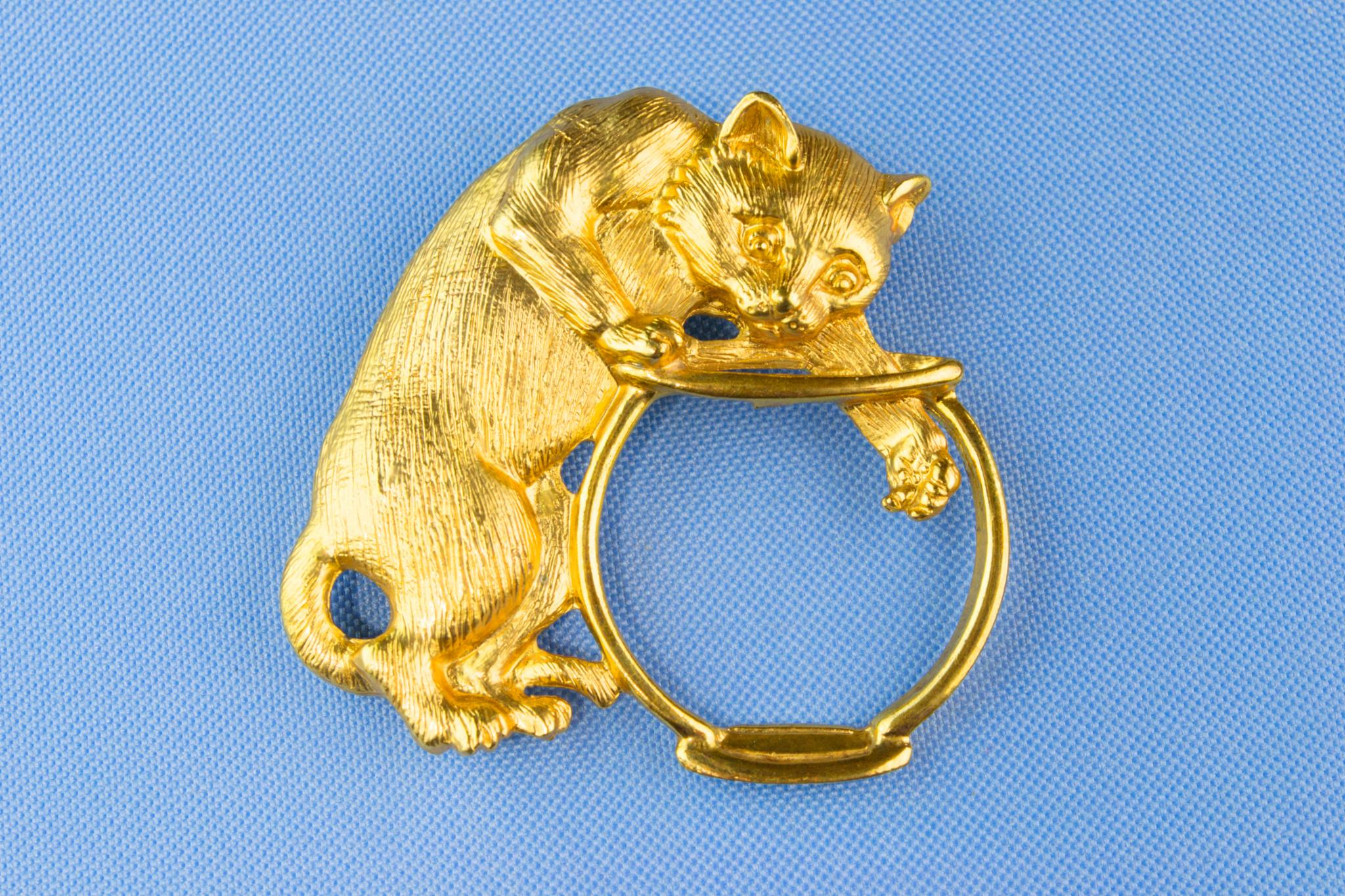 Cat and a Fishbowl Brooch 1950s