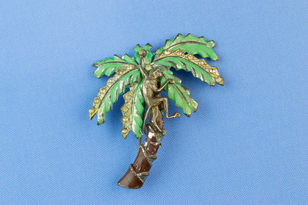 Monkey in a Palm Tree Brooch, Mid 20th Century
