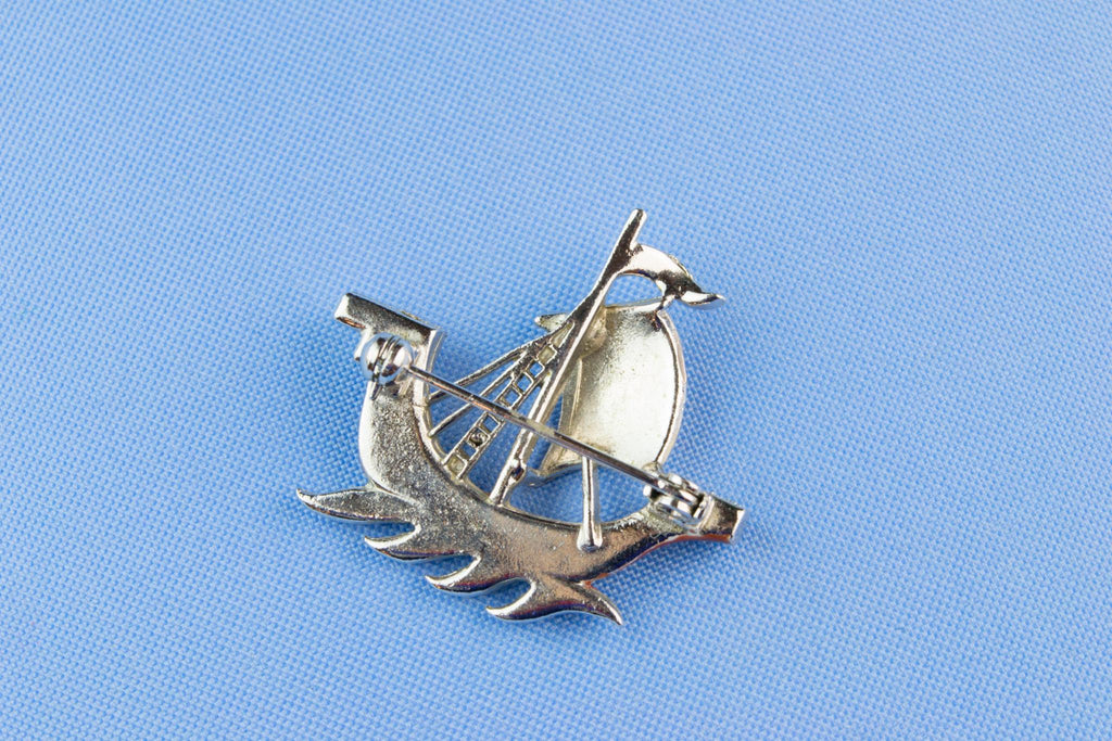 Enameled Nordic Ship Brooch 1960s