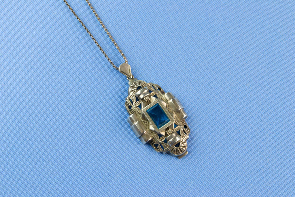 Silver & Blue Topaz Art Deco Necklace, French 1930s
